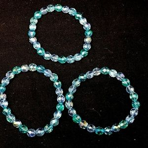 Set of 3 crystal blue bracelets faux costume